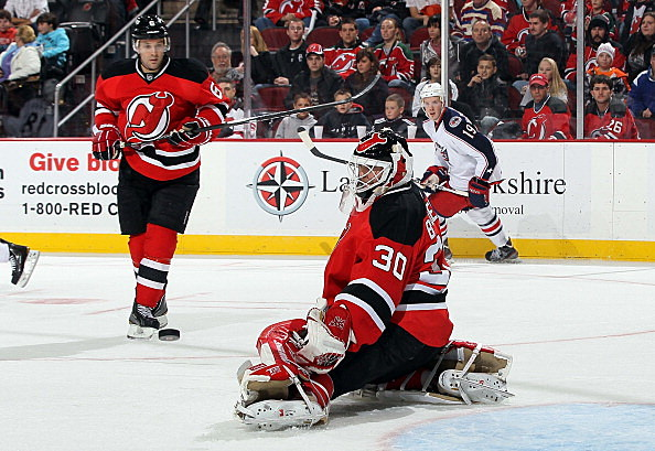Martin Brodeur #30 of the New Jersey Devils makes a save against the Columbus Blue Jackets