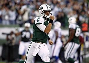Mark Sanchez #6 of the New York Jets celebrates a touchdown