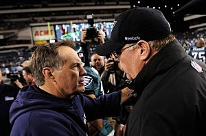 Head coach Bill Belichick of the New England Patriots is congratulated by head coach Andy Reid of the Philadelphia Eagles (Patrick McDermott/Getty Images)