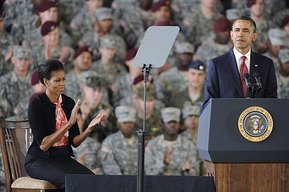 President Obama Speaks To Troops Returning Home From Iraq At Fort Bragg