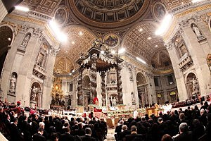 St. Peter's Basilica  during the Christmas night mass
