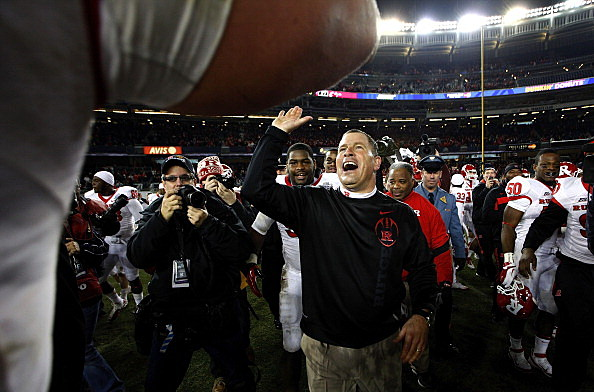 Rutgers Scarlet Knights head coach Greg Schiano celebrates a win over the Iowa State Cyclones in the New Era Pinstripe Bowl at Yankee Stadium