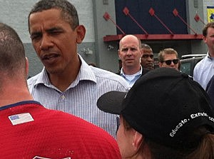 President Obama visits a Lowes in Paterson following Hurricane Irene