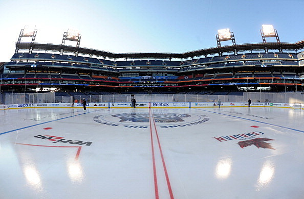 A general view of the ice for the 2012 Bridgestone NHL Winter Classic at Philadelphia's Citizens Bank Park