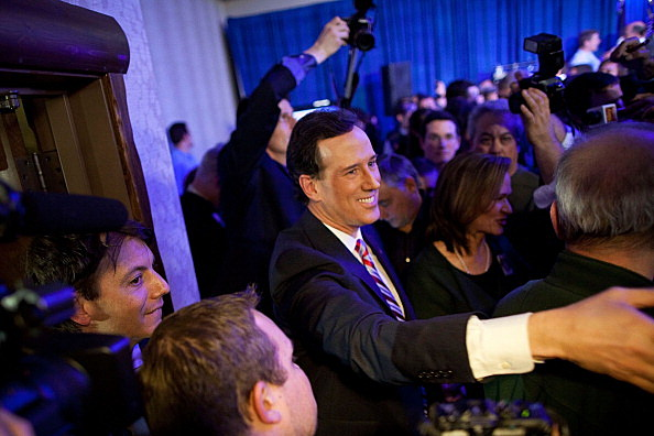 Rick Santorum attends caucus night event