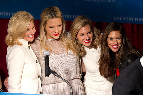 Some of Republican presidential candidate Jon Huntsman's family (L to R) wife Mary Kaye Huntsman, daughters Liddy, Mary Anne and Abby are pictured during a primary night rally in New Hampshire.  (Photo by Matthew Cavanaugh/Getty Images)