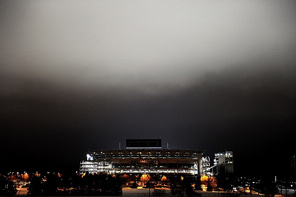 The lights at Beaver Stadium illuminate the night sky in memory of former Penn State Football coach Joe Paterno