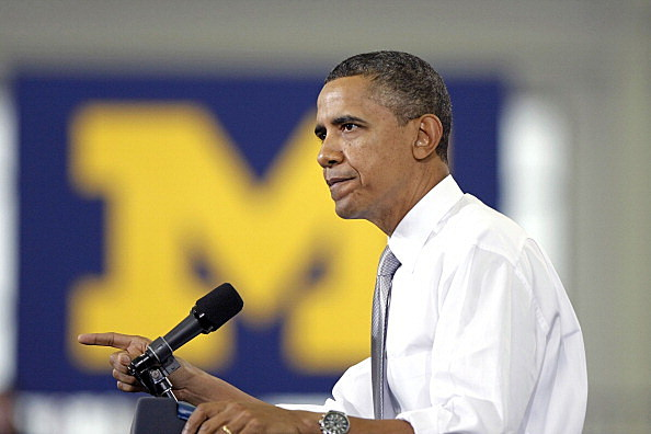 President Barack Obama speaks to students at the University of Michigan in Ann Arbor