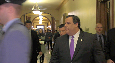 Christie enters Assembly Chamber
