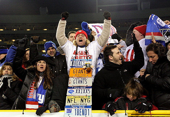 Giants Fan wears License Plates