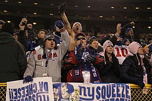 Giants Fans Celebrate at Lambeau