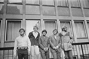 The Beach Boys at the Finsbury Astoria. They are, (from left to right) Bruce Johnston, Al Jardine (front), Carl Wilson (1946 - 1998), Dennis Wilson (1944 - 1983), and Mike Love