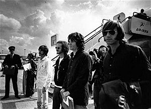 American rock group The Doors arrive at London Airport in 1968, they are, from left to right; John Densmore, Bobby Krieger, Jim Morrison (1943 - 1971) and Ray Manzarek.