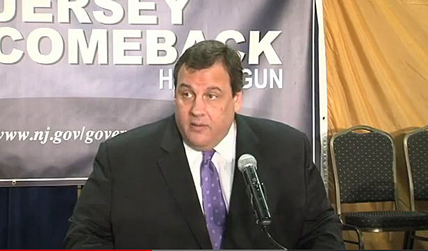 Governor Christie addresses the gay marriage bill during a town meeting in Bridgewater
