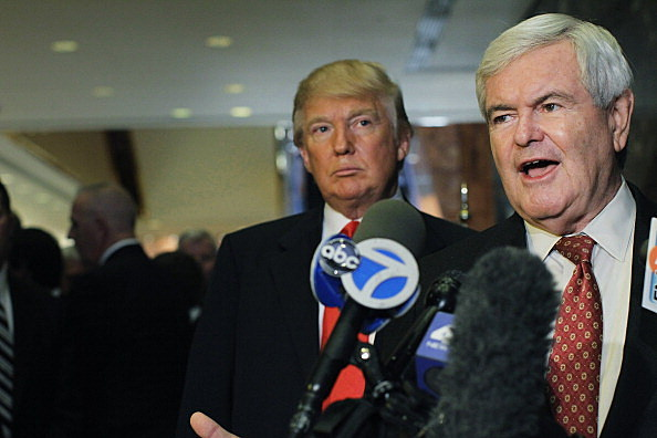 Donald Trump (L) and Newt Gingrich