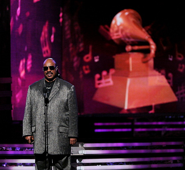 Steve Wonder on stage at the 54th Annual Grammy Awards