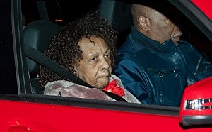 Whitney Houston's mother Cissy arrives at the Whigham Funeral Home in Newark