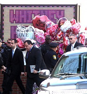 Governor Christie attends Whitney Houston's funeral