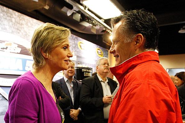 Mitt Romney with Glee's Jane Lynch