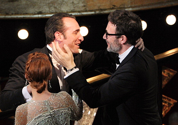 Actor Jean Dujardin, winner of the Best Actor Award for 'The Artist,' and director Michel Hazanavicius, winner of the Best Directing Award for 'The Artist,' Actor Jean Dujardin, winner of the Best Actor Award for 'The Artist,' and director Michel Hazanavicius, winner of the Best Directing Award for 'The Artist,'