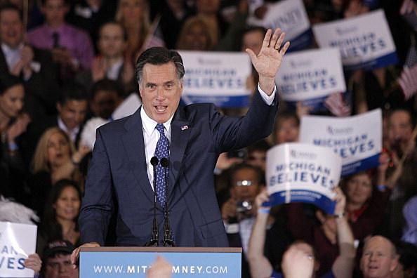 Mitt Romney following Michigan primary win