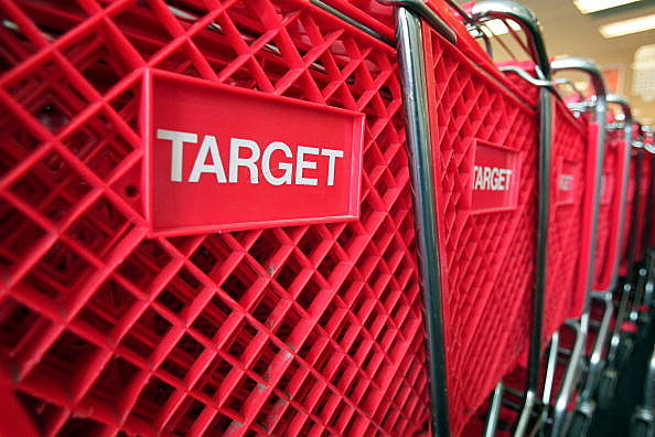 Shopping carts sit inside a Target store