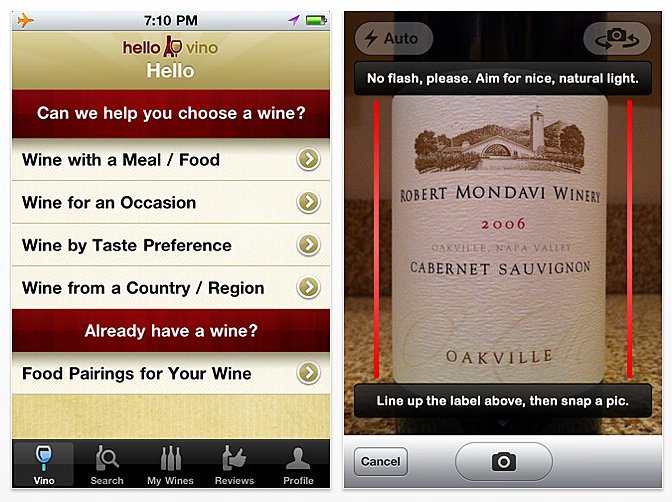 Hello Vino iPhone App