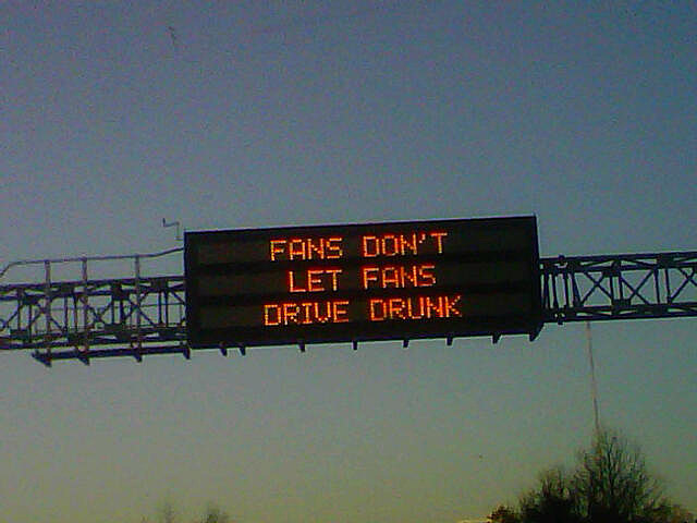 Super Bowl drunk driving warning