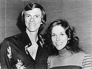 American brother and sister pop duo Richard and Karen Carpenter (1950 - 1983), back stage at the London Palladium.