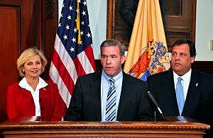 Attorney General Jeff Chiesa, Governor Chris Christie, Lt. Gov. Kim Guadagno
