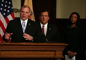 Senate President Steve Sweeney, Assembly Speaker Sheila Oliver, and Governor Chris Christie