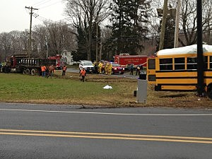 Bus accident scene in Chesterfield