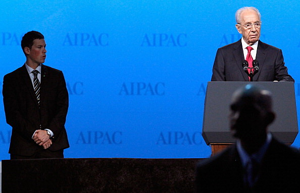 Israeli President Shimon Peres addresses the American Israel Public Affairs Committee's annual policy conference