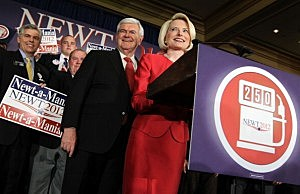 Newt Gingrich and wife Calista at a Super Tuesday rally in Atlanta
