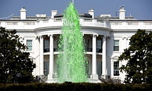 Green water flows in the fountain on the South Lawn of the White House in celebration of St. Patrick's day