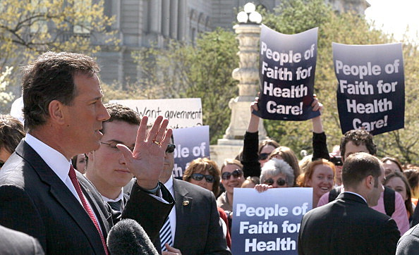 Rick Santorum in front of Supreme Court building