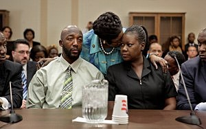 Sybrina Fulton (R) and Tracy Martin, the parents of Trayvon Martin, during a House Judiciary Committee briefing