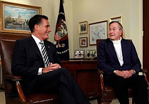 Mitt Romney (L) meets with Former President George H.W. Bush at Bush's office on March 29, 2012 in Houston,