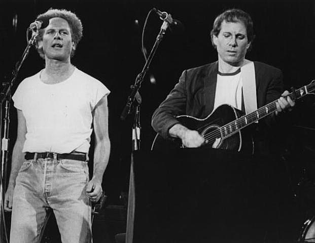 Folk pop duo Art Garfunkel and Paul Simon, playing in front of more than 50,000 people in Madrid 1967