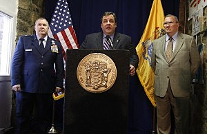 Governor Chris Christie, Acting Adjutant General Michael Cunniff and Freedom House CEO Fred Reihl