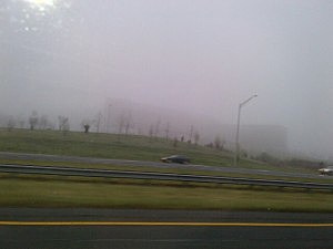 Fog shrouds the Capital Health Medical Center in Hopewell
