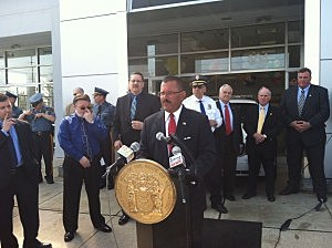 Law enforcement gathers at Lester Glenn Chrysler in Toms River to introduce the new E Temp Tag (Jason Allentoff, Townsquare Media NJ)