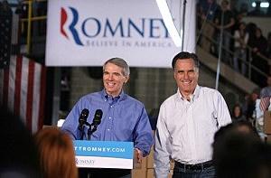 Mitt Romney with Senator Rob Portman (Mark Lyons/Getty Images)