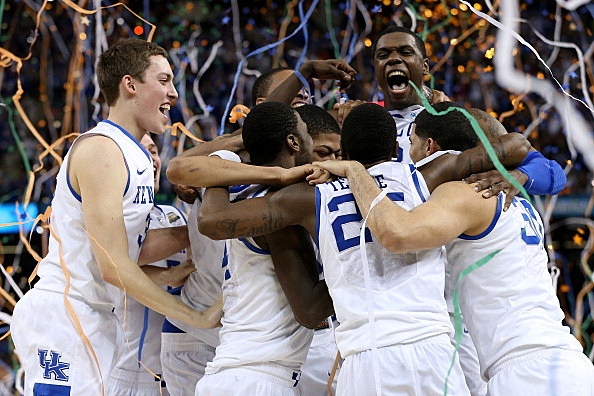 The Kentucky Wildcats celebrate after defeating the Kansas Jayhawks 67-59 in the National Championship Game of the 2012 NCAA Division I Men's Basketball Tournament