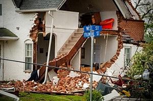 Damage from an apparent tornado in Thurman, Iowa.