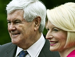 Newt Gingrich and wife Calista campaign in North Carolina.