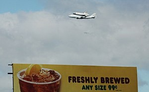 Space Shuttle Enterprise flies over Manhattan