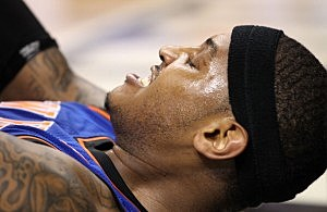 Carmelo Anthony #7  of the New York Knicks reacts against the Miami Heat