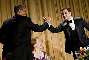 President Barack Obama gives a high-five to Jimmy Kimmel at the 2012 White House Correspondents' Association Dinner