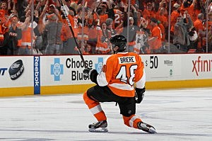 Danny Briere #48 of the Philadelphia Flyers celebrates his overtime goal against the New Jersey Devils